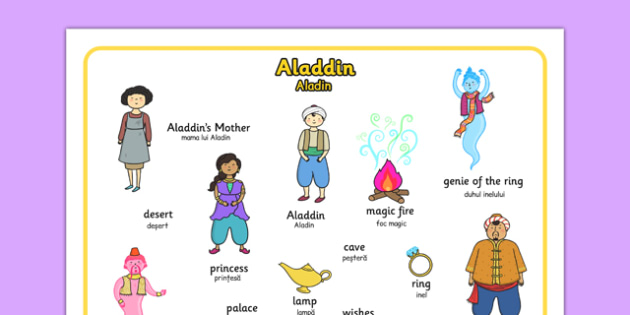 Aladdin Word Mat Romanian Translation - romanian, aladdin, word mat, key words, stories, story