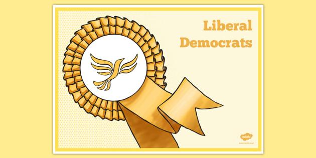 United Kingdom Political Liberal Democrats Party Display Poster - british values, politics, uk