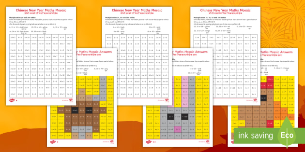 chinese new year animals multiplication mosaics differentiated worksheet. Black Bedroom Furniture Sets. Home Design Ideas
