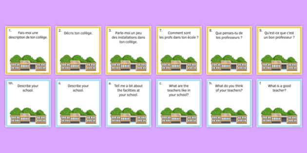 Life at School/College Question Pair Cards French - Conversation, Speaking, école, Collège, Scolaire, Professeurs, Teachers, Uniform, Uniforme, Rules, Règles, Règlement, Journée, Cards, Cartes