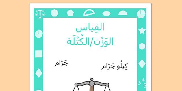 ملصق القياس الوزن والكتلة - وحدات القياس، الوزن، القياس
