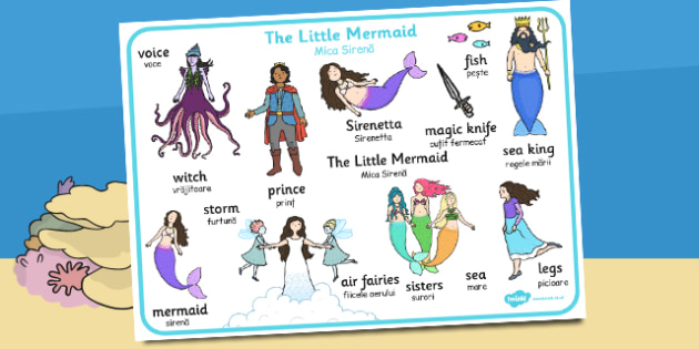 The Little Mermaid Word Mat Romanian Translation - romanian