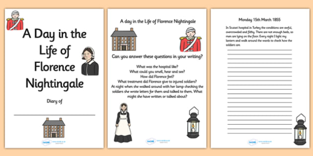 Florence Nightingale Diary Writing Frames with Prompts - florence nightingale, florence, florence nightingale writing frames, florence nightingale diary
