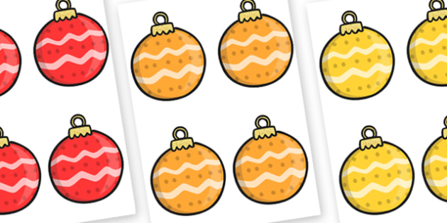 Christmas Baubles (Patterned) Editable  - christmas, baubles