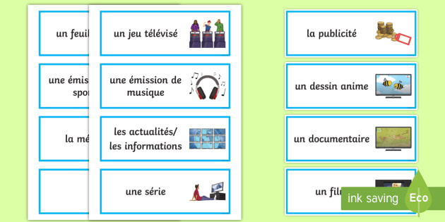 Tv Programmes French Word Cards Tv Programmes Matching Cards French