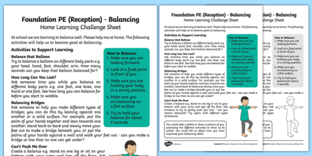 Foundation PE (Reception) - Balancing Home Learning Challenge Sheet - EYFS, PE, Physical Development, Planning