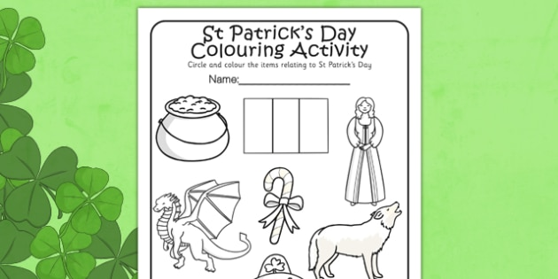 st patricks day colouring activity sheet st patrick colour worksheet