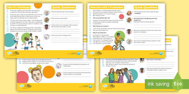 UKS2 60-Second Reads: BBC Children in Need Activity Pack