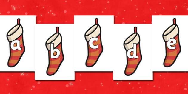 A-Z Alphabet on Christmas Stockings - Christmas, xmas, stocking, advent, nativity, santa, father christmas, Jesus, tree, stocking, present, activity, cracker, angel, snowman, advent , bauble, A-Z,  Alphabet frieze, Display letters, Letter posters, A-
