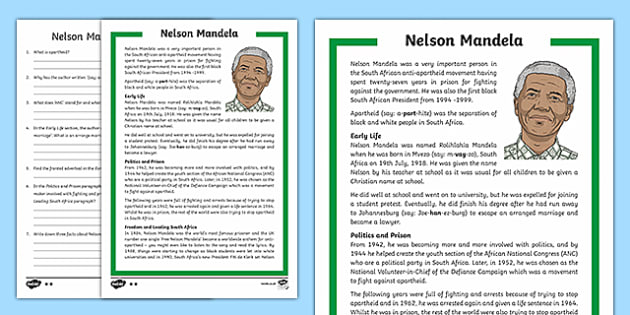 KS2 Nelson Mandela Differentiated Reading Comprehension ...