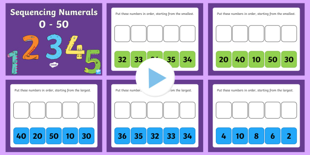 Sequencing Numerals 0 to 50 PowerPoint - Mental Maths Warm Up, Revision, powerpoint, sequencing, numbers, 50, 100, ordering numbers.
