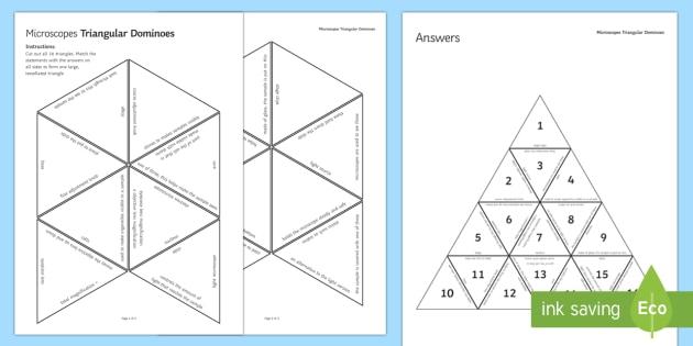 Microscopes Triangular Dominoes - Tarsia, Dominoes, Microscopes, Magnification, Samples, Slides, Microorganisms, plenary activity