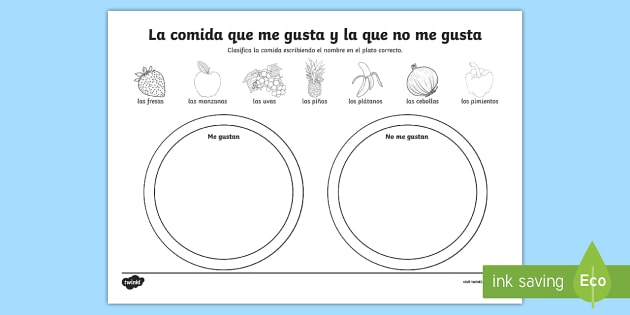 Foods I Like and Dislike Spanish Worksheet / Worksheet - Spanish ...