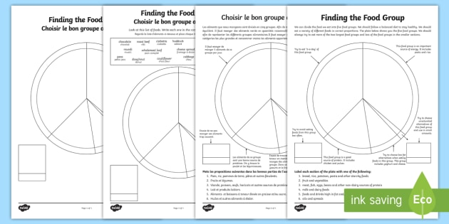 Finding The Food Group Worksheet Activity Sheet English French Food Groups Food