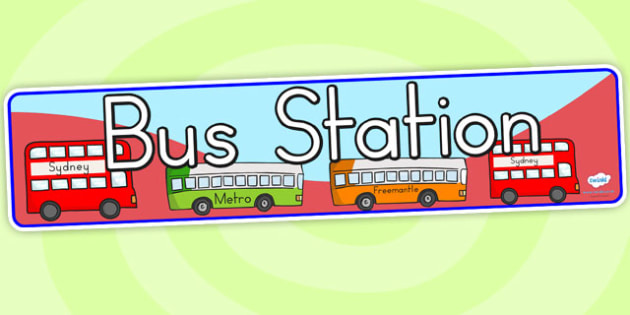 Bus Station Role Play Display Banner - bus station, transport