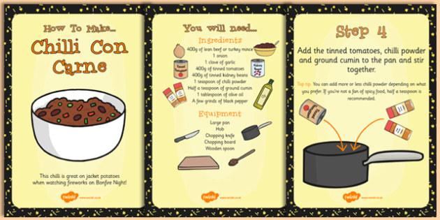 Chilli Recipe Cards - recipe, cards, chilli, bonfire night, food