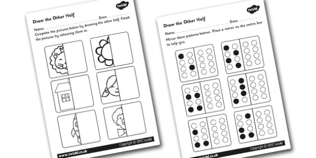 Draw The Other Half Symmetry Worksheet / Activity Sheet
