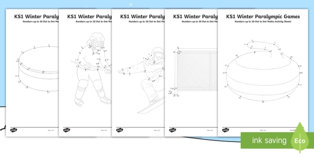 ks1 winter paralympic games numbers up to 20 dot to dot maths worksheet. Black Bedroom Furniture Sets. Home Design Ideas