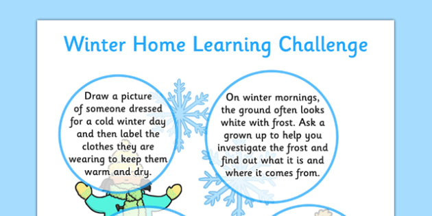 Winter Home Learning Challenge Sheet Reception FS2 - eyfs, winter, home learning, challenge, sheet, reception