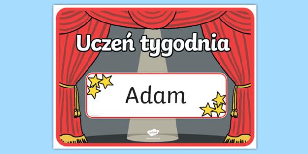Plakat A3 Uczeń tygodnia po polsku