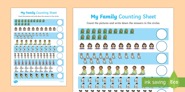 My Family Up to 20 Counting Worksheet / Activity Sheet