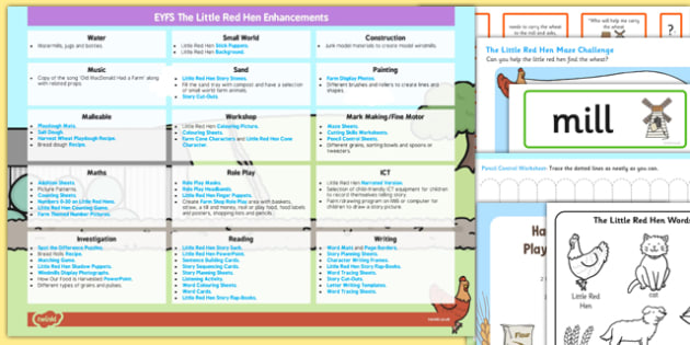 EYFS The Little Red Hen Enhancement Ideas and Resources Pack - planning, Early Years, continuous provision, early years planning, traditional stories