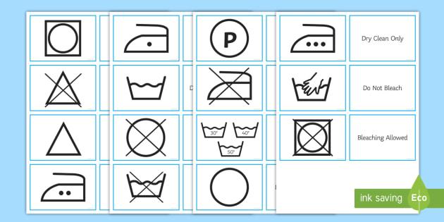 Washing Symbols Matching Cards - Washing Symbol Matching