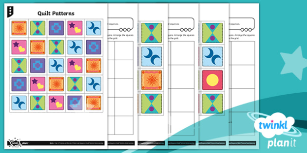 PlanIt Maths Y2 Position and Direction Quilt Patterns Home Learning Tasks