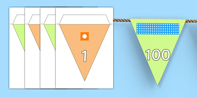Number Line To 100 With Number Shapes Bunting - display, numbers, counting, hundred, zero, numeracy, eyfs, ksi, counting blocks, number shapes,