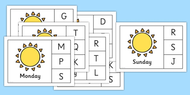 Days of the Week Peg Matching Game - EYFS, Early Years, time, calendars, week