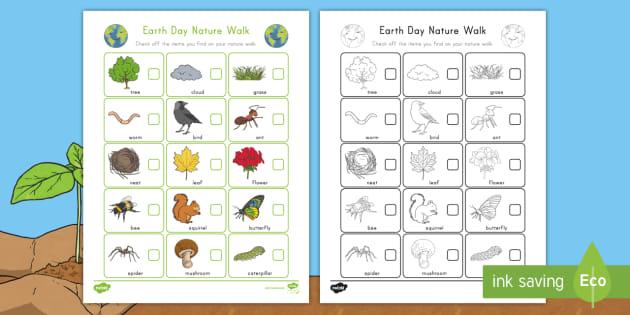 earth day nature walk worksheet nature identification spring nature walk. Black Bedroom Furniture Sets. Home Design Ideas