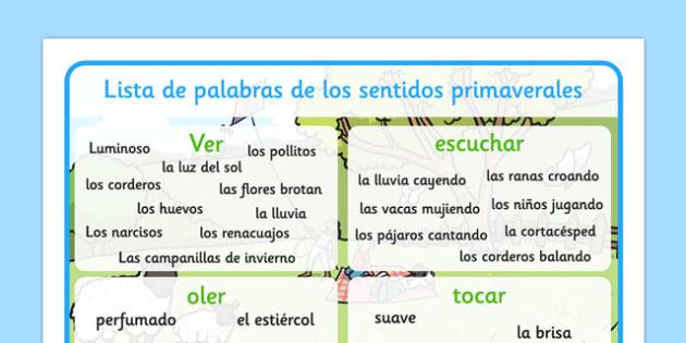 Tapiz de vocabulario de la primavera y los sentidos - primavera, sentidos, tapiz, vocabulario
