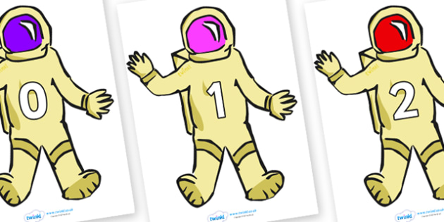 Numbers 0-100 on Astronauts - 0-100, foundation stage numeracy, Number recognition, Number flashcards, counting, number frieze, Display numbers, number posters