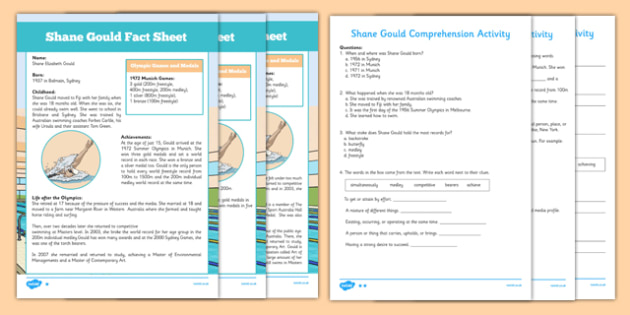 Shane Gould Australian Olympian Differentiated Comprehension Activity - Australia, Olympic Games, Information, Fact Sheet, Reading Comprehension, Vocabulary, Phonics, Sequencing, Challenge