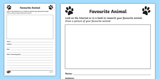 Favourite Animal Activity Sheet, worksheet