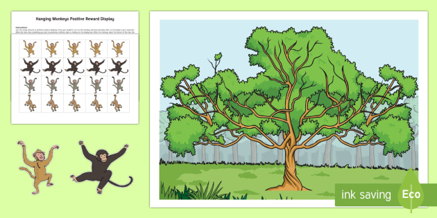 Hanging Monkeys Positive Reinforcement Display Cut-Outs - Classroom Management and Organization, positive reinforcement, display, monkeys, tree.