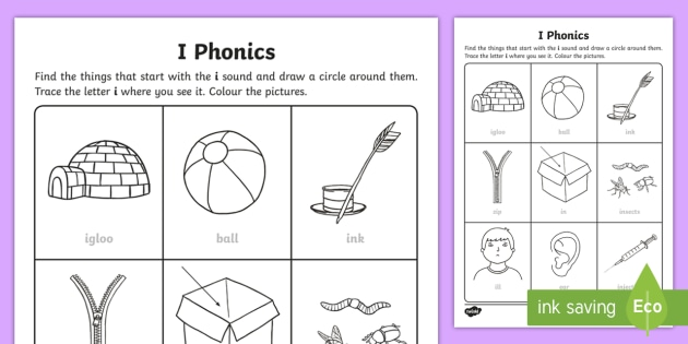 Phonics Worksheet | I Phonics Worksheet Worksheet