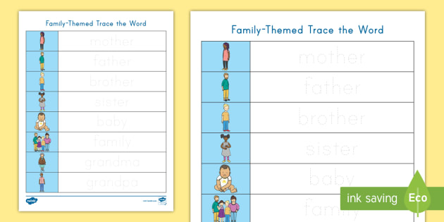Family Trace The Words Worksheet (teacher Made)