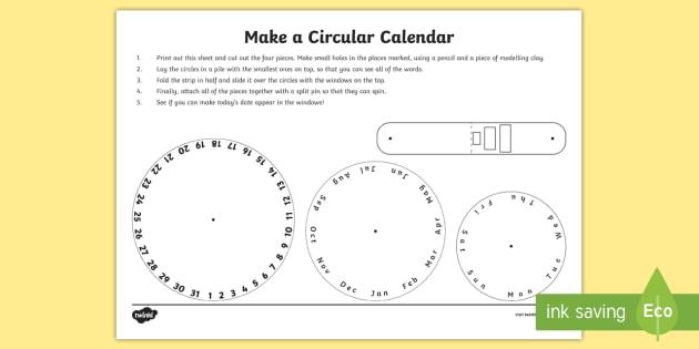 Make A Circular Calendar Activity Measures Maths Time