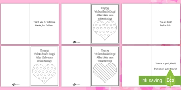 Kindness Messages Valentines Day Cards EnglishGerman  EAL
