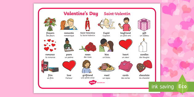 Valentine S Day Word Mat English French Valentines Day Word Mat