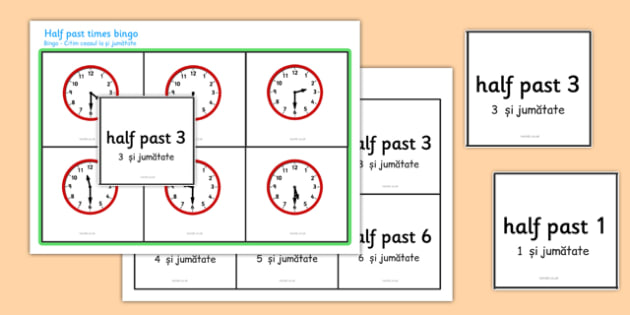 Half Past Times Bingo Romanian Translation - EAL, translated, bilingual,  time, analogue, clock