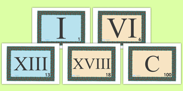 Roman Numeral Visual Aids - Romans, Rome, Roman Empire, visual aid, aids