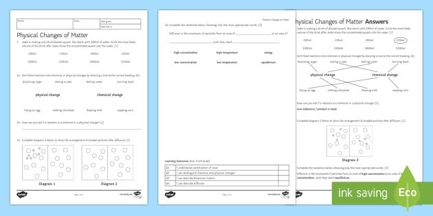 Physical Changes Homework Activity Sheet - Homework, physical changes, reaction, reversible, chemical change, irreversible, non-reversible, pro