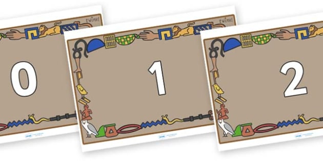 Numbers 0-31 on Egyptian Bricks - 0-31, foundation stage numeracy, Number recognition, Number flashcards, counting, number frieze, Display numbers, number posters