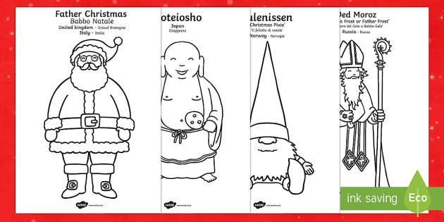 father christmas around the world colouring sheets englishitalian father christmas around the world