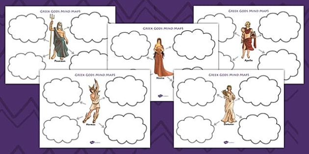 ancient greek gods mind map worksheets ancient greece greek. Black Bedroom Furniture Sets. Home Design Ideas