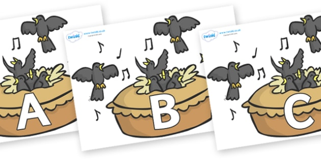 A-Z Alphabet on Blackbirds in a Pie - A-Z, A4, display, Alphabet frieze, Display letters, Letter posters, A-Z letters, Alphabet flashcards