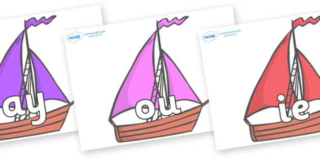 Phase 5 Phonemes on Sailing Boats to Support Teaching on Where the Wild Things Are - Phonemes, phoneme, Phase 5, Phase five, Foundation, Literacy, Letters and Sounds, DfES, display