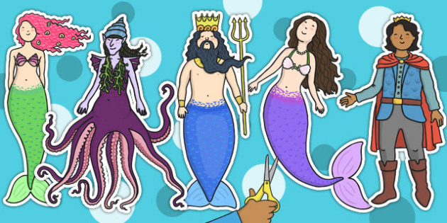 The Little Mermaid Stick Puppets - story books, role play, props